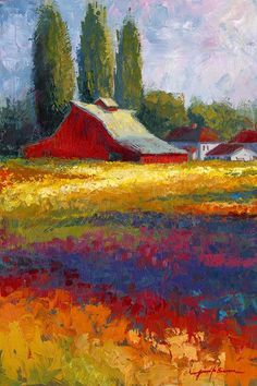Jennifer Bowman ~ The Old Red Barn~c.c.c~ Original Acrylic Painting