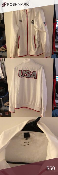Arena TEAM USA Swim jacket White size large Usa swimming arena jacket. Mesh interior and very lightweight. Worn a handful of times. Arena Jackets & Coats Windbreakers