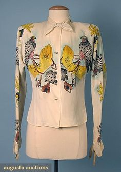 "1940s Tina Lesser ""Falconry"" blouse - Ivory crepe, handpainted, sequin decorated, and signed by the designer."