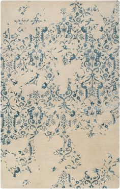 Featuring a teal filigree pattern on a beige backdrop, this hand tufted wool rug is perfect for a classic contemporary look. From the Banshee Collection by Surya. Contemporary Area Rugs, Modern Rugs, Modern Art, Wool Area Rugs, Blue Area Rugs, Blue Rugs, Wool Rugs, Tapis Design, Thing 1
