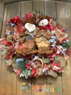 Burlap Western Cowboy Christmas Wreath-Santa Cowboy -Snowman Cowboy Wreath-Rustic Christmas Wreath-Country Western Wreath-Country Decor wishingwellwreaths@etsy.com