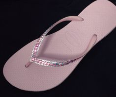 "US 8/9 Swarovski Crystal Havaianas SLIM ""Sophisticate"" Flip Flops Dusty Rose Pink Sandals Womens Jewel Rhinestone Beach Shoes by GlassSlippersCC on Etsy"