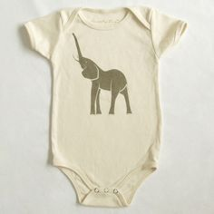 Elephant Organic Shimmer Ash Printed Bodysuit in Natural 3-6m, 6-12m, 12-18m. $21.50, via Etsy.