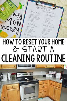 How to reset your home & start a cleaning routine. Having a tidy home saves my sanity as a stay at home mom. Here are my tips to reset your home back to square one and start a cleaning routine to keep it that way.