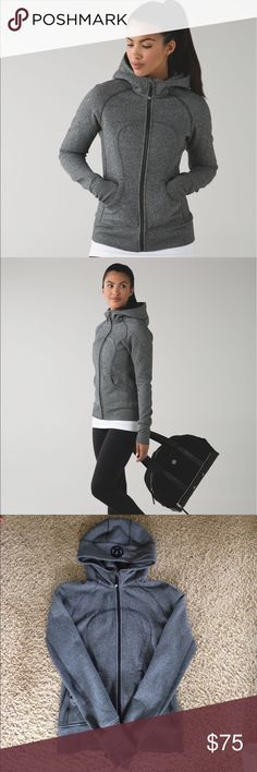 Lululemon Scuba Hoodie II Heathered Speckled Black Lululemon Scuba Hoodie II in Heathered Speckled Black. Longer length in the body and ribbed panelling in the sides keep us covered and give us room to move. Soft, thick Cotton Fleece fabric helps lock in the heat. Oversized hood helps keep you warm on your way to the studio. Elastic zipper pull doubles as an emergency hair tie. Designed not to shrink. Used but still in great shape. There is some pilling on the inside and the elastic pull is…
