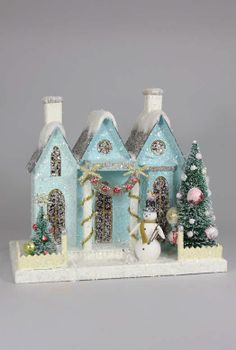Putz houses from retro to traditional. Add to your Christmas village display with a new putz house that light up. Find your glitter paper putz house here! Christmas Village Houses, Christmas Town, Putz Houses, Christmas Villages, Modern Christmas, Retro Christmas, Christmas Holidays, Christmas Crafts, Christmas Glitter