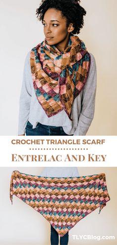 Colorful Tunisian crochet triangle scarf pattern using the beginner friendly entrelac method. Wonderful stash buster to use your favorite yarn skeins. | TLYCBlog.com #tunisiancrochet #crochetshawl #yarnstash #stashbuster #crochetpattern #entrelaccrochet Crochet Shawls And Wraps, Crochet Scarves, Tunisian Crochet Patterns, Crochet Stitches, Crochet Triangle Scarf, Crochet Scrubbies, Crochet World, Crochet Things, Crochet Accessories