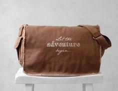 Messenger Bag  Let the Adventure Begin  School by BucktoothedBunny, $40.00