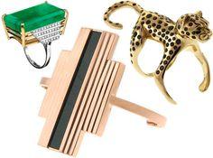 Anel de esmeralda Galeria, anel leopardo Bichos e, abaixo, pulseira de ágata preta Art Deco ©Divulgação joias art deco - Pesquisa Google