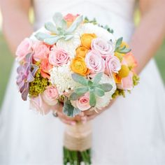 Colorful Succulent Bridal Bouquet-  pale green succulents with soft pink roses, yellow ranunculuses and white dahlias.
