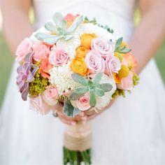 Colorful Succulent Bridal Bouquet