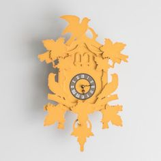 Pulp Function Large Cuckoo Clock, Yellow / $34.50 Clock, Yellow, Gifts, Home Decor, Watch, Favors, Interior Design, Clocks, Presents