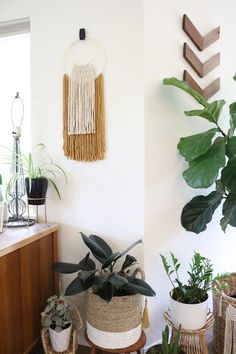 Interchangeable Colors Wall Hanging with Leather Strap Woven Wall Hanging, Hanging Plants, Ceiling Design, Wall Design, Kids Room Wall Decals, Grey Interior Design, Cute Bedroom Ideas, Aesthetic Room Decor, Diy Wall Decor