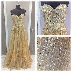 gold sequin ball / prom dress