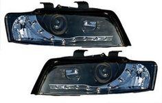 AUDI A4 B6 8E 01-05 BLACK LED DRL PROJECTOR HEADLIGHTS