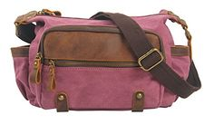 Muchuan Unisex Canvas Genuine Leather Zipper Messenger Bag Shoulder Bag Material:canvas farbic and genuine leather Internal structure:interior slot pocket,cell phone pocket,interior zipper pocket.