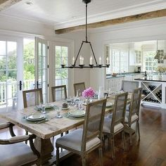 Salvaged Wood Trestle Dining Table, Cottage, dining room, Patrick Ahearn Architecture