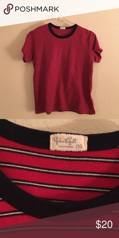 Brandy Melville Striped Tee red white and navy striped tee from Brandy Melville. Super soft material, a little thicker so it's good for fall. never worn. Perfect condition. Will fit XS-M. Brandy Melville Tops Tees - Short Sleeve