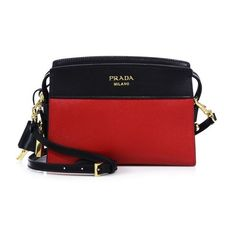 Prada Mini Esplanade Leather Crossbody Bag ($1,480) ❤ liked on Polyvore featuring bags, handbags, shoulder bags, crossbody, red, leather shoulder bag, leather shoulder handbags, prada purses, leather purses and cross-body handbag