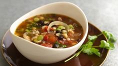 Bean and Barley Soup using Green Giant veggies. Betty Crocker's Heart Healthy Cookbook shares a recipe! Barley provides a simple addition to a no-fuss bean soup that only takes 10 minutes to prep and is ready in 25 minutes.