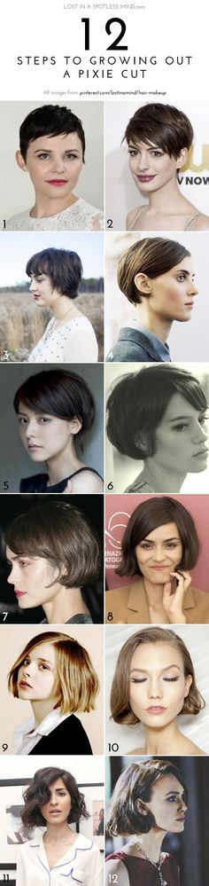 12 Steps to Growing Out a Pixie Cut. A couple things need to happen before I might get a pixie (1. get my neck tattoo added to so that I'm happy with it, and 2. find a stylist to stick through during the process), but I kind of want one again. I didn't appreciate the one I had previously.
