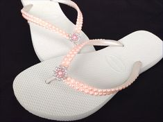 6c048e3adb683 Pearl Havaianas Slim Flip Flops Pearls Blush Pink Light Rose Jewels w  Swarovski  Crystal gem Silver Filigree BridesMaids Beach Wedding shoes