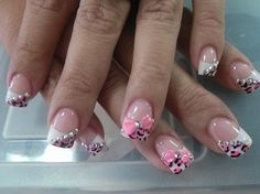 Chetta Pink French Nails w/ Rhinestones and 3D Pink Bow