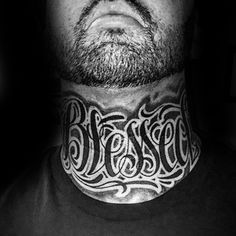 Mens Blessed Neck Tattoo Design Ideas