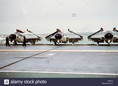 Stock Photo - HMS Eagle with Sea Venoms on deck in Weymouth Bay 1959 Weymouth Bay, De Havilland Vampire, Flight Deck, Aircraft Carrier, Royal Navy, Helicopters, Choppers, Venom, Military Aircraft
