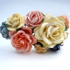 Cream pink and peach Floral Fascinator. Flower by cloudcake, $25.00