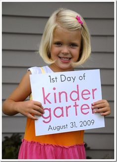 First day of school each year with the date--totally going to do this!