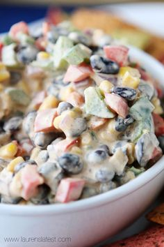 Tex Mex Veggie Dip Recipe ~ bell peppers, red onion, black olives, jalapenos and corn tossed in this super easy sauce