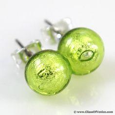 Murano Ball Stud Earrings - Apple Green