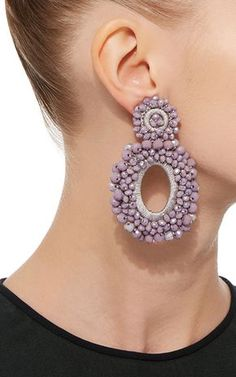 *M'O Exclusive* Beaded Drop Earrings by Bibi Marini Modern Jewelry, Diy Jewelry, Beaded Jewelry, Beaded Bracelets, Jewellery, Bead Earrings, Crochet Earrings, Earrings Handmade, Handmade Jewelry