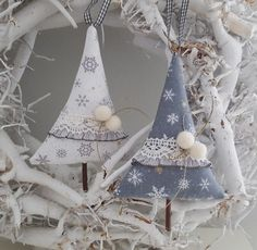 Tree Decorations: Fabric - Christmas tree ornaments fir tree gray / white - a unique product by Fein Fabric Christmas Trees, Christmas Decorations To Make, Christmas Tree Ornaments, Christmas Sewing Projects, Holiday Crafts, Holiday Decor, Christmas Makes, Very Merry Christmas, Homemade Christmas