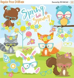 80% OFF SALE Spring animals clipart commercial use, spring clipart vector graphics, fox digital clip art, woodland digital images - CL967