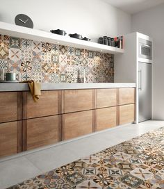 patchwork colors cementine effect porcelain tiles cementine colors effect fliesenspiegel patchwork porcelain tiles Kitchen Design Small, Rustic Kitchen, Kitchen Design, Kitchen Tiles Design, Kitchen Flooring, Patchwork Tiles, Home Decor Kitchen, Kitchen Interior, Retro Kitchen