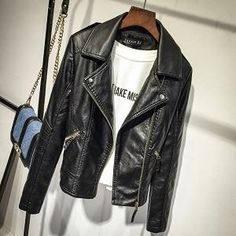 Black Faux Leather Jacket, Faux Leather Jackets, Pu Leather, Leather Coats, Coats For Women, Jackets For Women, T Shirt Branca, Slim Fit Jackets, Lady
