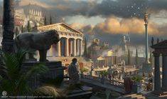View an image titled 'Agora District in Cyrene Art' in our Assassin's Creed Origins art gallery featuring official character designs, concept art, and promo pictures. Concept Art World, Game Concept Art, Environment Concept Art, Environment Design, Ancient Greek City, Ancient Rome, Ancient Greece, Fantasy City, Fantasy Places