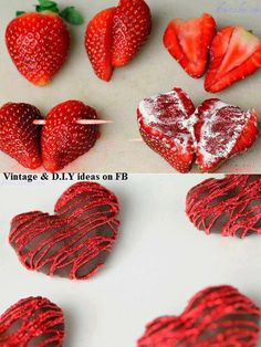 Heart Shaped Chocolate Strawberries - TGIF - This Grandma is Fun Valentines Day Food, Valentine Treats, Valentine Deserts, Holiday Treats, Holiday Recipes, Holiday Gifts, Cute Food, Yummy Food, Heart Shaped Chocolate