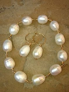 White Baroque Pearl Earrings on 14K Gold Filled wire by FMBdesigns, $60.00