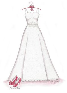 Wedding Dress & Shoes Sketch. Paper Anniversary Gift by Dreamlines.  Paper anniversary gifts for her and Wedding gifts from the groom to the bride. https://www.etsy.com/listing/206396434/sketch-of-wedding-dress-shoes-paper?ref=shop_home_active_6