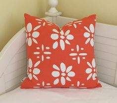 Beautiful China Seas design in orange and white. Bright, fun fabric is a durable medium weight linen/cotton. The back side is a solid white linen. The pillow cover can also be purchased with the same fabric on both sides.  FABRIC: Front - Quadrille China Seas Wildflowers Reverse in Orange and White, 1st quality fabric Back - Kravet heavy weight white linen  CONSTRUCTION: Knife Edge Finish Pattern placement will be the same or similar to photos Serged inner seams Heavy duty invisible zipp...