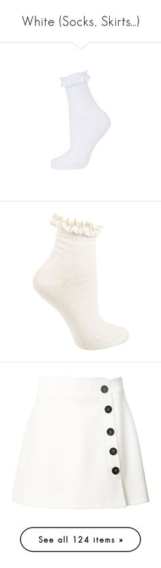 """White (Socks, Skirts...)"" by carlou863 ❤ liked on Polyvore featuring intimates, hosiery, socks, topshop, white, short socks, cotton socks, lace trim ankle socks, white socks and tennis socks"