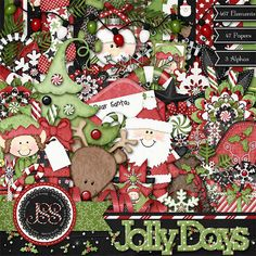 Christmas Holiday Jolly Days Digital Scrapbook by JssScrapBoutique