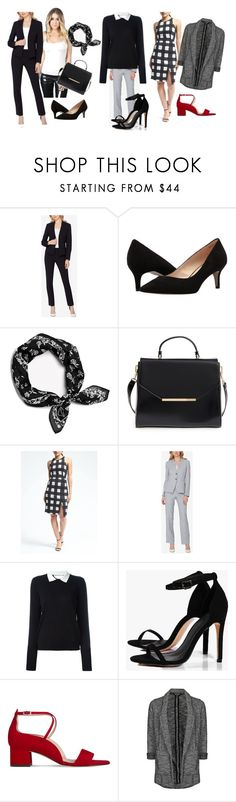 """Capsule Wardrobe for a New Career"" by mimiandjane ❤ liked on Polyvore featuring Tahari by Arthur S. Levine, Pelle Moda, rag & bone, Ted Baker, Banana Republic, RED Valentino, Boohoo, L.K.Bennett, Topshop and WorkWear"