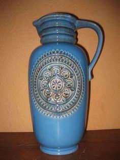 ausgefallene Henkelvase Jasba Keramik Krug Kanne Vase Höhe 34,5cm alt 60er 70er