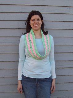 Infinity Scarf Mint Green & Pink van amydscrochet op Etsy