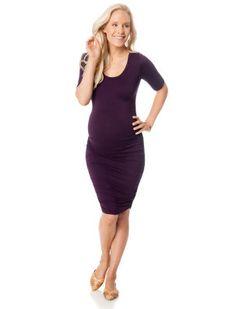 Motherhood Maternity Elbow Sleeve Side Ruched Maternity Dress