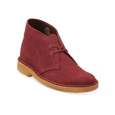 Clarks Desert Boot Boots ($140) ❤ liked on Polyvore featuring shoes, boots, ankle booties, cherry suede, moccasin booties, leather ankle boots, clarks moccasins, short boots and leather bootie